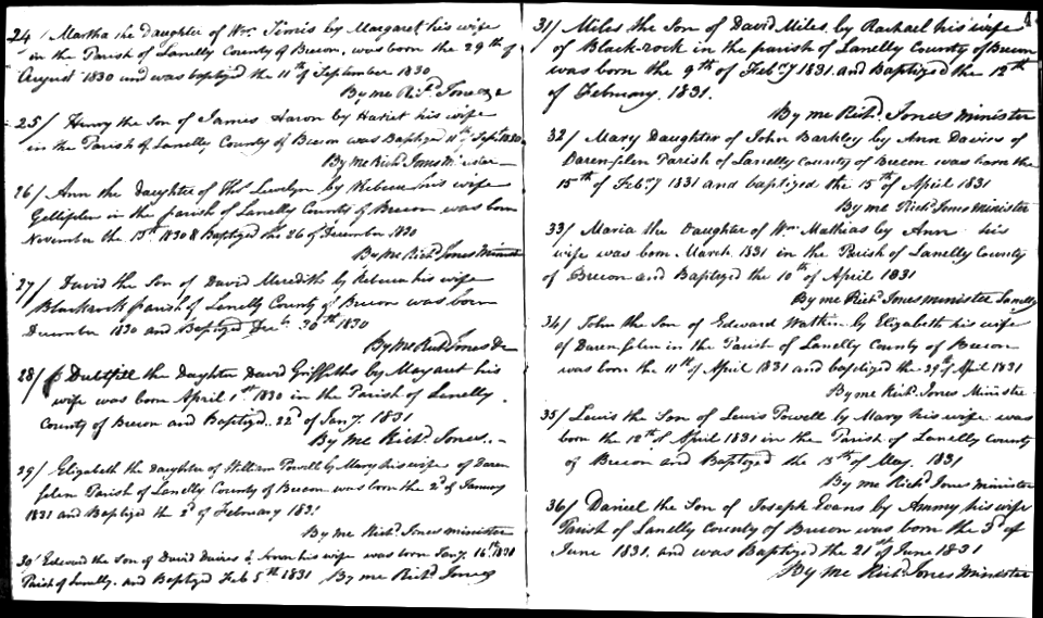 Sample page from the Siloam Chapel baptism register.