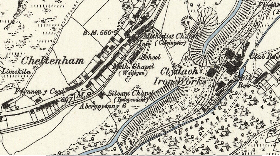Siloam Chapel shown on Ordnance Survey map dated 1879