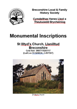Front page of booklet - Monumnental Inscriptions for St Illtyd Church