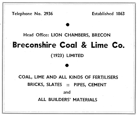 Breconshire Coal & Lime Company Advert